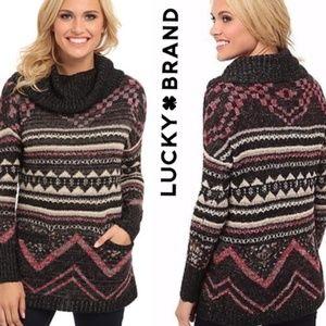 Lucky Brand Black etno turtleneck warm sweater